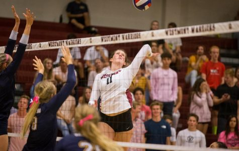 Senior Cassidy Rea approaches a hit during a home volleyball game.