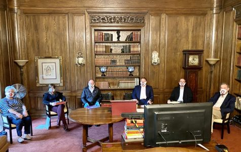 The Executive Team meets in Kerrwood Hall, socially distanced.