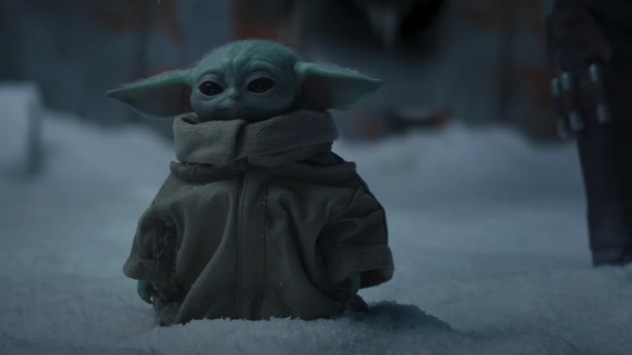 Baby Yoda stands on the ice planet some speculate to be Ilum