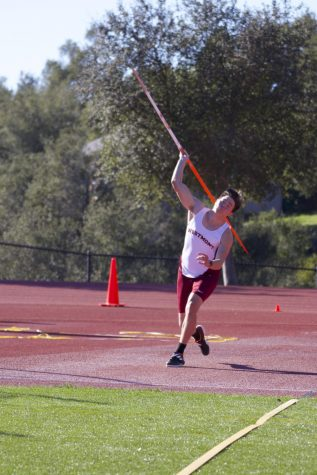 Westmont prepares to throw the javelin.