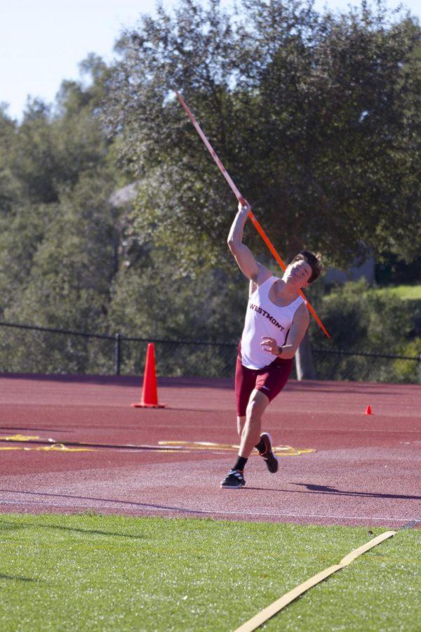Westmont+prepares+to+throw+the+javelin.