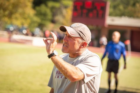 Coach Wolf in his element, leading the Westmont Mens Soccer team.