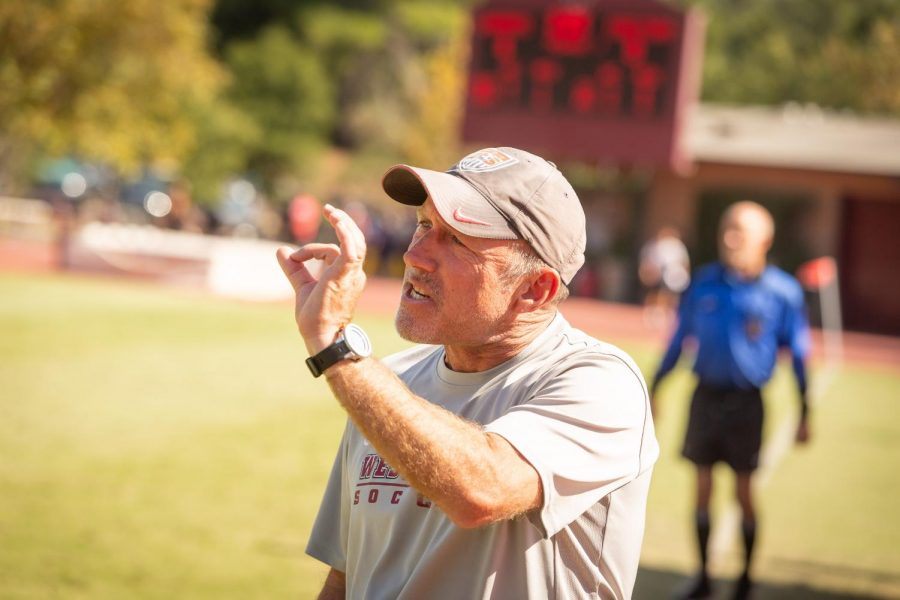 Coach+Wolf+in+his+element%2C+leading+the+Westmont+Mens+Soccer+team.