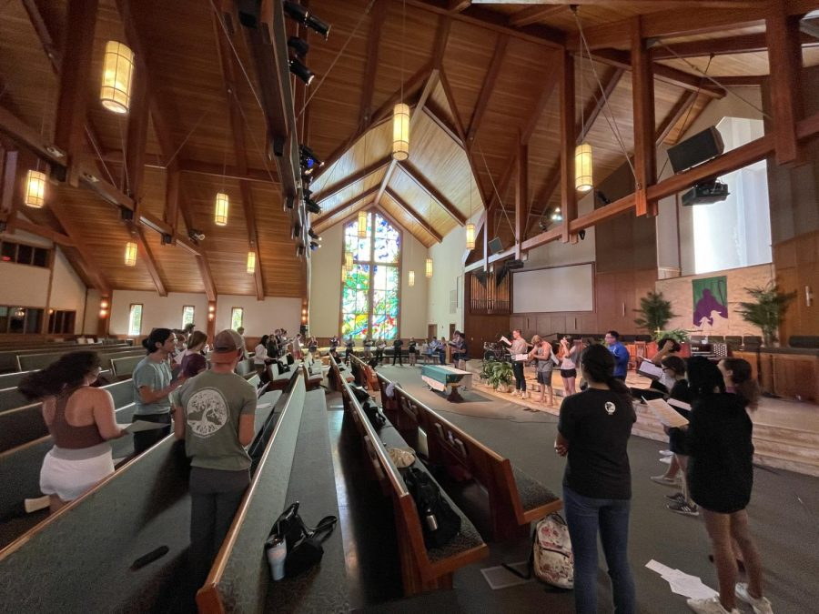 Westmont choir rehearses in Santa Ynez Presbyterian church