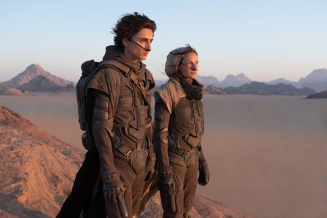 Paul Atreides (Timothée Chalamet) and his mother Jessica (Rebecca Ferguson) on the Dunes of Arrakis