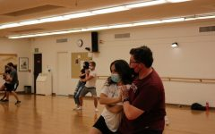 Ballroom/swing students practicing in the dance room